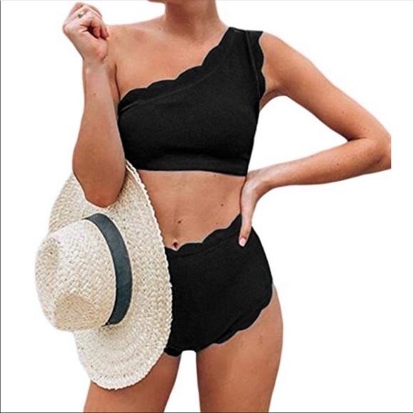 1dc01365ca Swim   Vintage Style One Shoulder High Waist Bikini   Poshmark